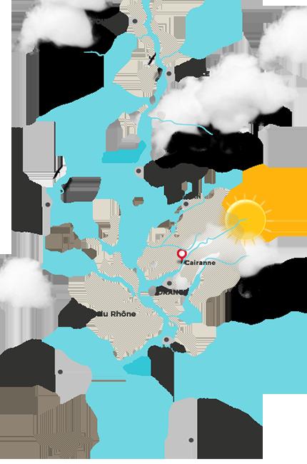 캐란 지도 (위에서부터) 발랑스, 몽텔리마, 루옴, 그리냥, 캐란, 오랑주, 코트 뒤 론, 아비뇽, 님, 마르세이유 / 제공: www.rhone-wines.com
