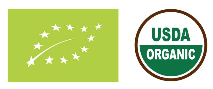 왼쪽 유럽 EU 오가닉 로고, 오른쪽 미국 USDA 오가닉 로고