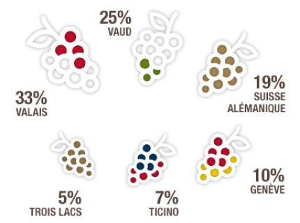 그림2) 스위스 내 지역별 생산비율